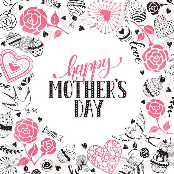 free printable mothers day cards - flower sweets border