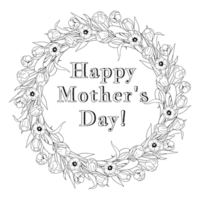 Printable Mothers Day Card 5x5 Flower Wreath Coloring