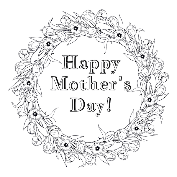 free printable mothers day cards - flower wreath coloring