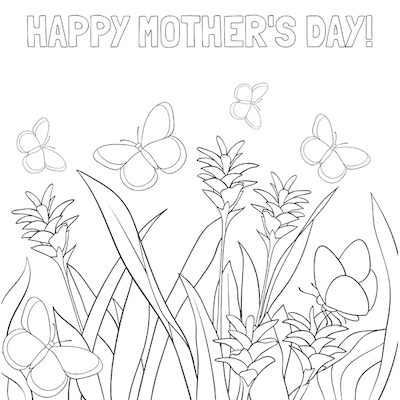 Printable Mothers Day Card 5x5 Flowers Butterflies Coloring