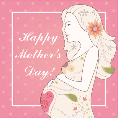 Printable Mothers Day Card 5x5 Flowers Pregnant