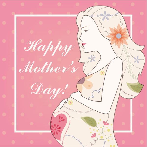 free printable mothers day cards - flowers and pregnant mom