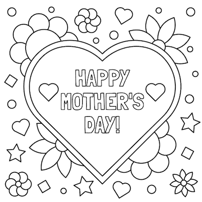 Printable Mothers Day Card 5x5 Hearts Flowers Coloring