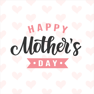 Printable Mothers Day Card 5x5 Pink Hearts Background