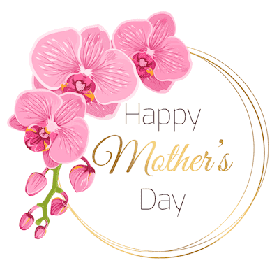 Printable Mothers Day Card 5x5 Pink Orchids