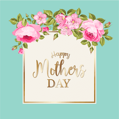 Printable Mothers Day Card 5x5 Pink Roses Aqua Gold