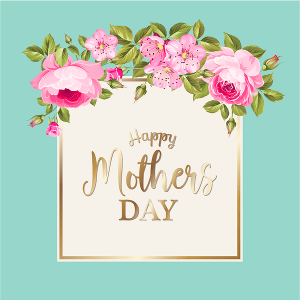 free printable mothers day cards - pink roses, aqua and gold