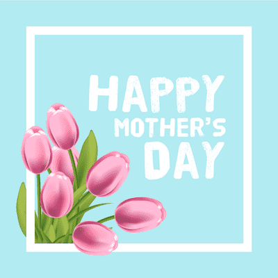 Printable Mothers Day Card 5x5 Tulips