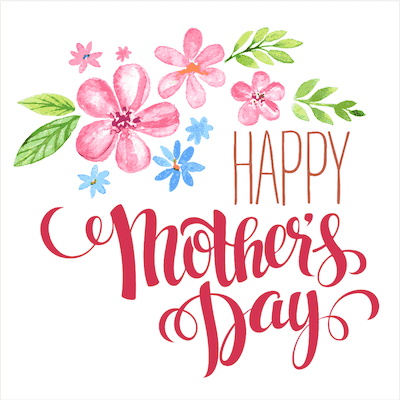 Printable Mothers Day Card 5x5 Watercolor Flowers