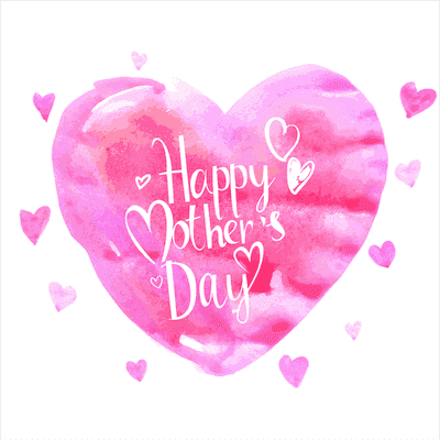 Printable Mothers Day Card 5x5 Watercolor Heart