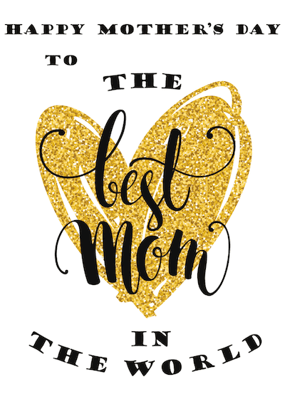 Printable Mothers Day Card 7x5 Best Mom Gold Glitter Heart