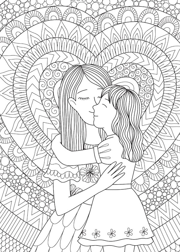 free printable mothers day cards - mom and daughter doodle coloring