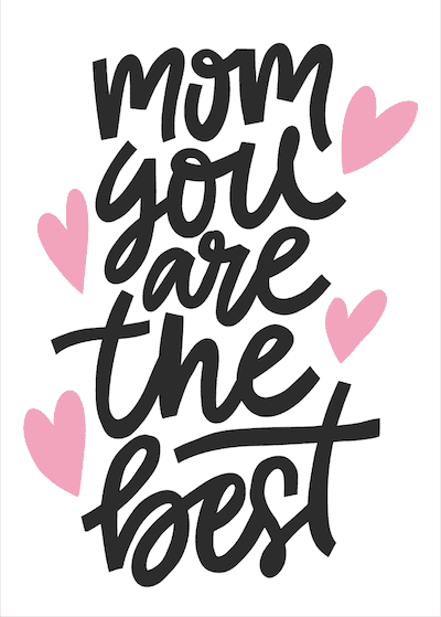 Printable Mothers Day Card 7x5 Mom You Are the Best Pink Hearts