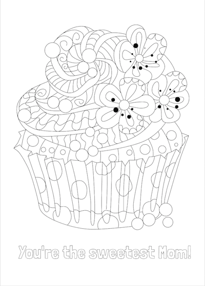 Printable Mothers Day Card 7x5 Sweetest Mom Cupcake Coloring