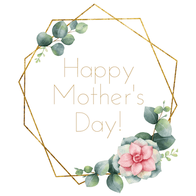 Printable Mothers Day Cards 5x5 Geometric Wreath