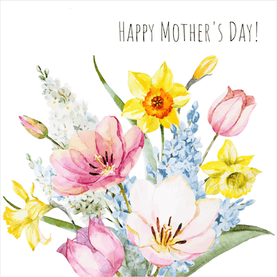 Printable Mothers Day Cards 5x5 Watercolor Bouquet Spring Flowers