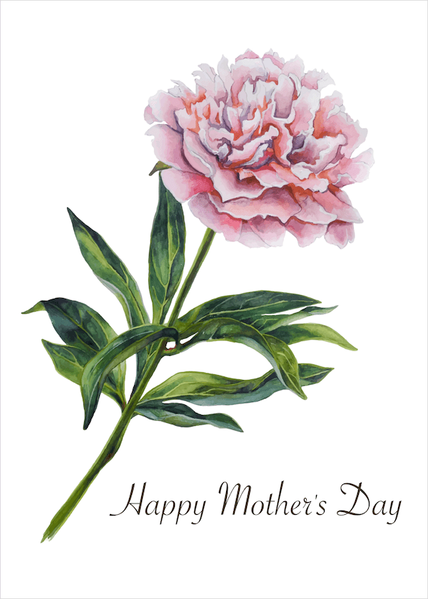 free printable mothers day cards - watercolor peony
