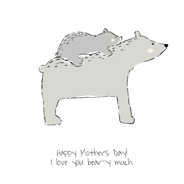 free printable mothers day cards - love you bear-y much
