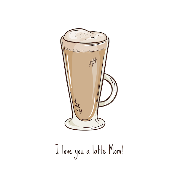 free printable mothers day cards - love you a latte