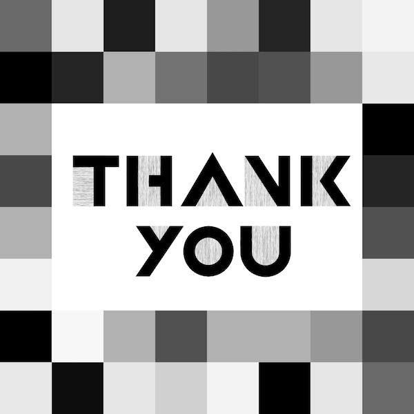 printable thank you cards - Black and white squares