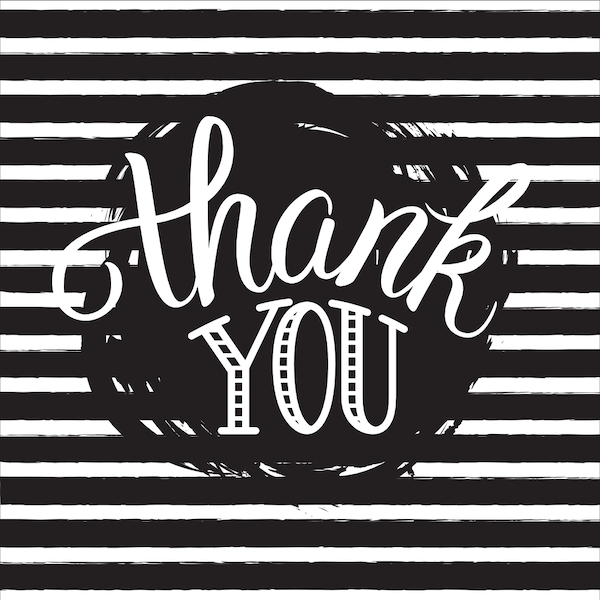 printable thank you cards - Black and white striped