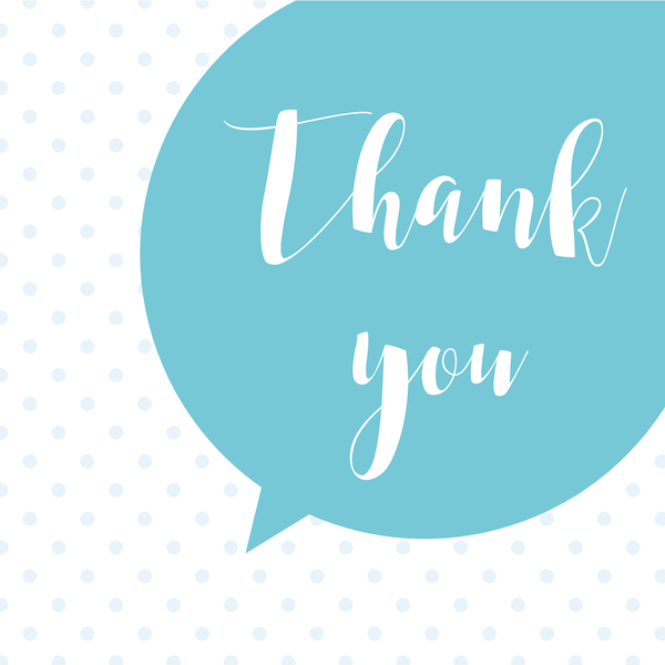 printable thank you cards - Blue speech bubble