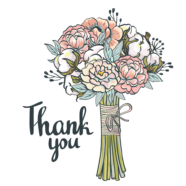 printable thank you cards - Bunch of flowers