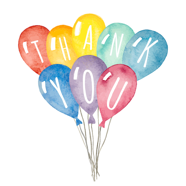 printable thank you cards - Watercolor balloons