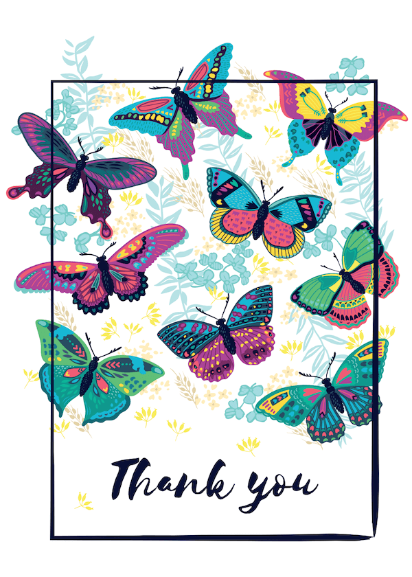printable thank you cards - Butterflies