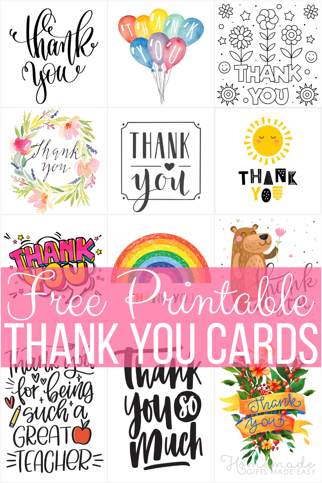 Free Printable Thank You Cards - 48 designs