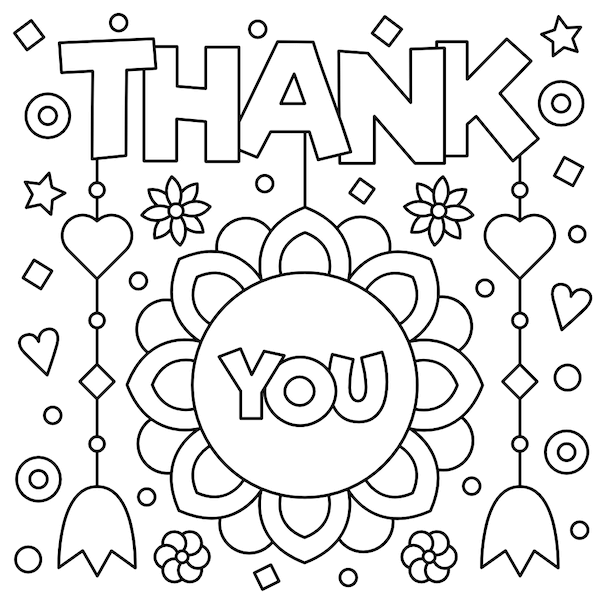 printable thank you cards - Coloring flowers