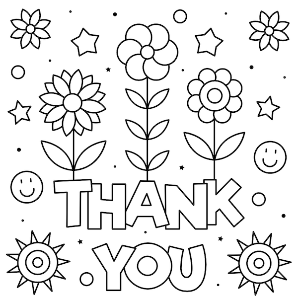 printable thank you cards - Coloring flowers and stars