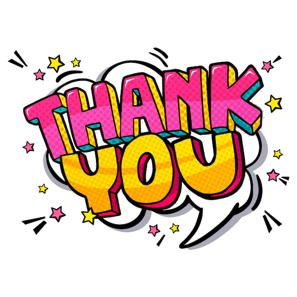 printable thank you cards - Comic book style