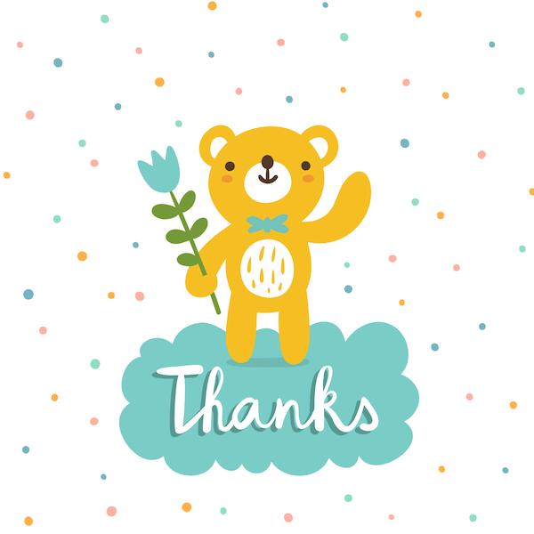 printable thank you cards - Cute bear with flower
