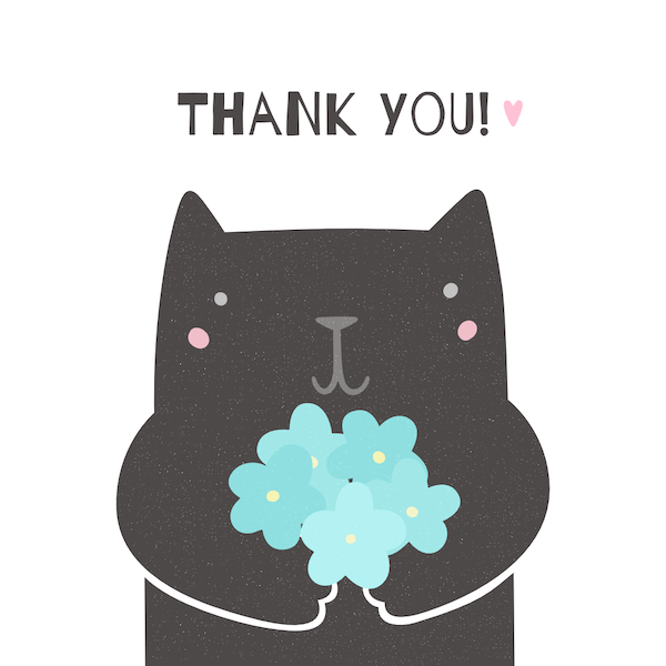 printable thank you cards - Cute cat with flowers