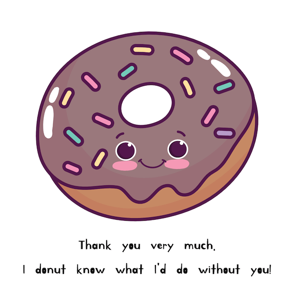printable thank you cards - Donut know how to thank you