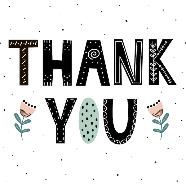 printable thank you cards - Dots and flowers