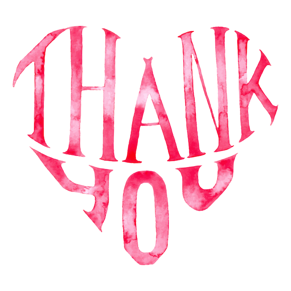 printable thank you cards - Heart-shaped word art