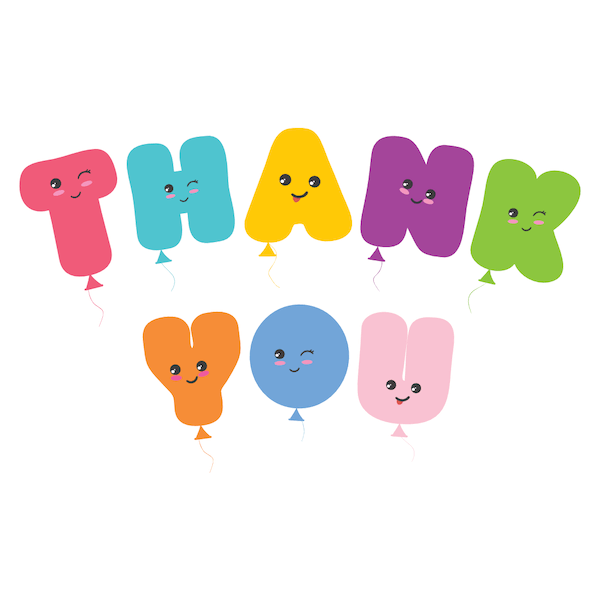printable thank you cards - Kawaii balloons