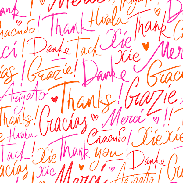 printable thank you cards - Multi-language handwritten