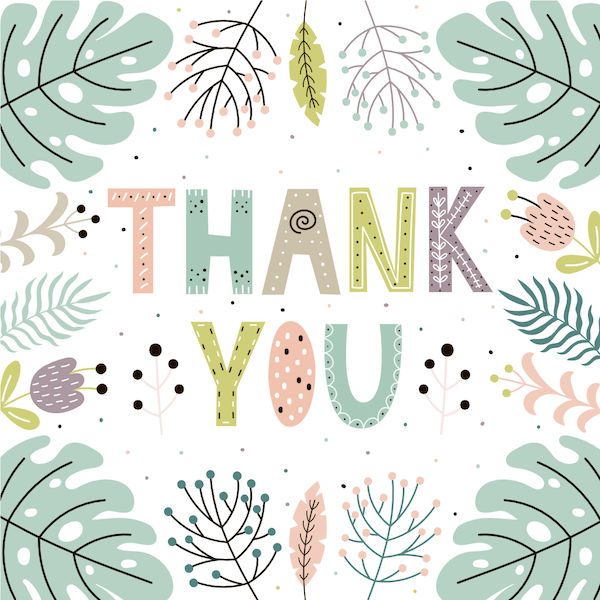 printable thank you cards - Pastel ferns