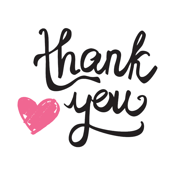 printable thank you cards - Pink heart