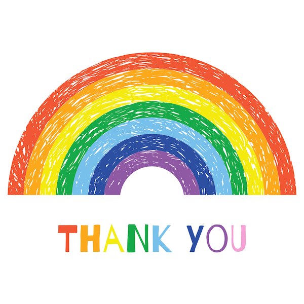 printable thank you cards - Rainbow