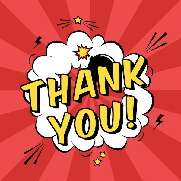 printable thank you cards - Comic book style explosion
