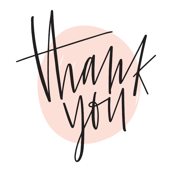 printable thank you cards - Script in pink circle