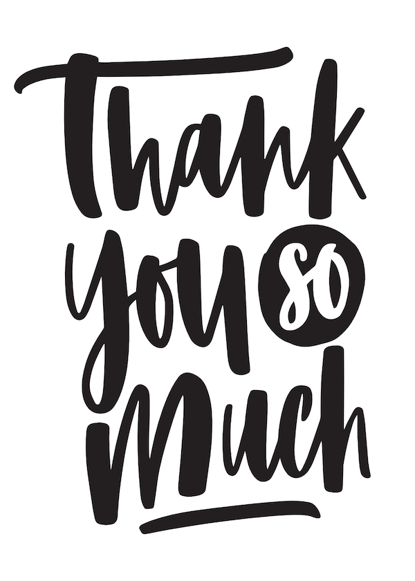 printable thank you cards - Black and white thank you so much