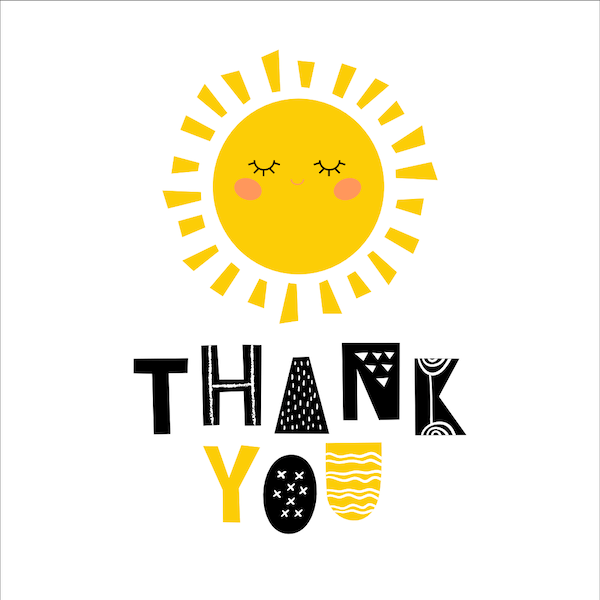 printable thank you cards - Cute sunshine