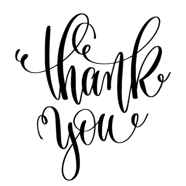 printable thank you cards - Swirly font