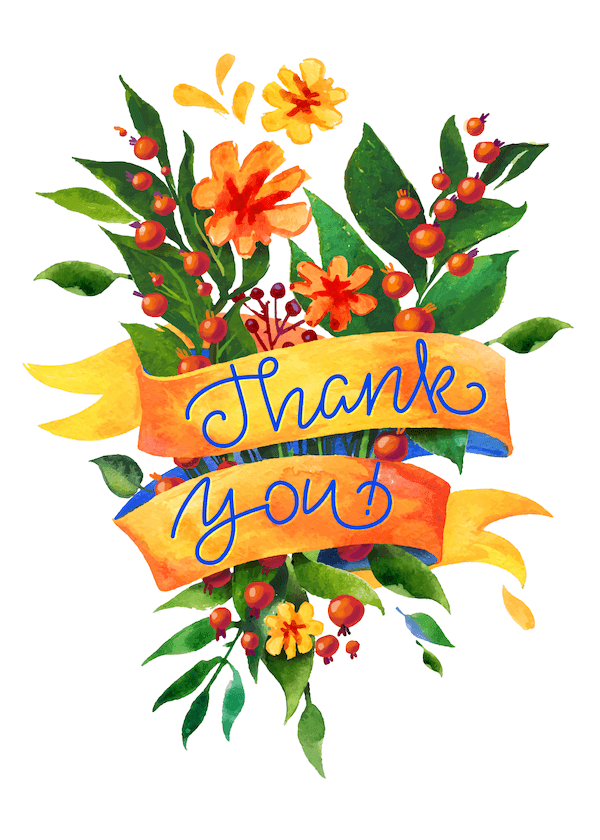 printable thank you cards - Tropical bouquet
