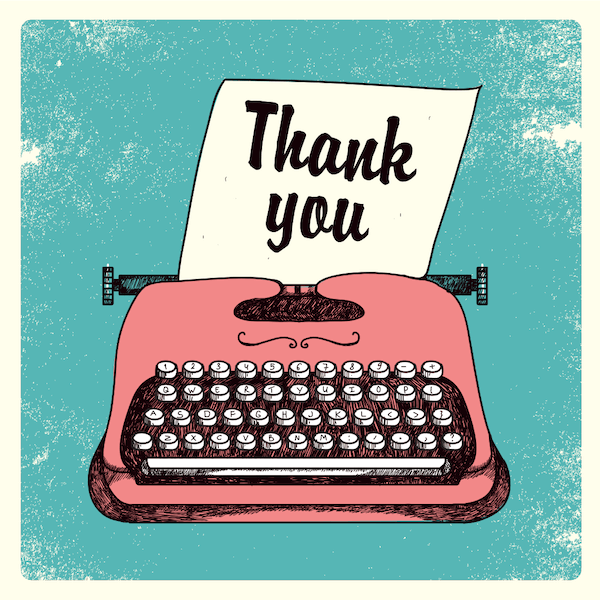 printable thank you cards - Vintage typewriter